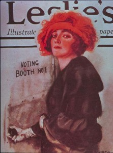 "A well-dressed young woman enters ""Voting Booth No. 1."""